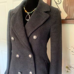 Charcoal Gray Double Breasted Pea Coat M